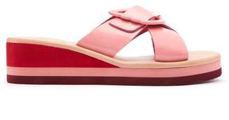 Ancient Greek Sandals Thais Rainbow Leather Wedge Sandals - Womens - Pink