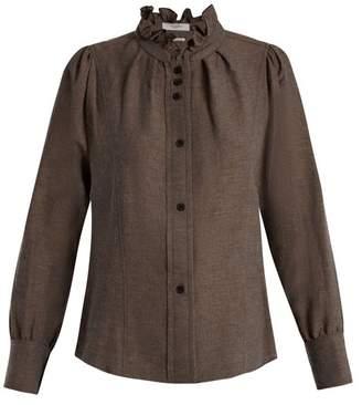 Etoile Isabel Marant Melphine ruffled-collar twill blouse
