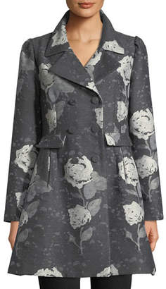 Co Double-Breasted Floral-Jacquard Wool Car Coat