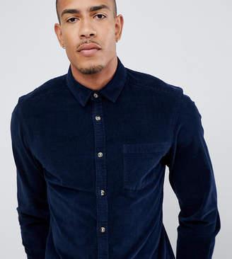 Asos Design DESIGN Tall slim fit stretch cord shirt in navy