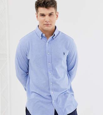 Big & Tall player logo button down pique shirt in blue marl