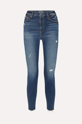 GRLFRND Kendall Distressed High-rise Skinny Jeans - Dark denim