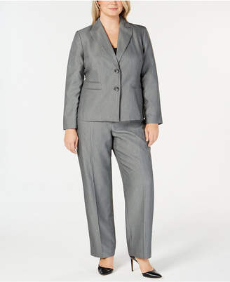 Le Suit Plus Size 2-Button Tonal Striped Pantsuit