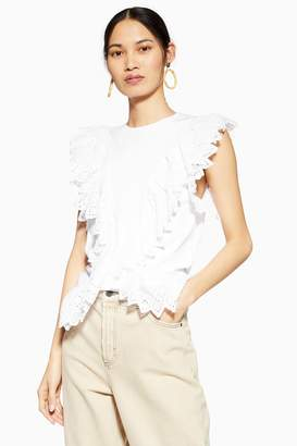 Topshop Womens Broderie Front Tank - White