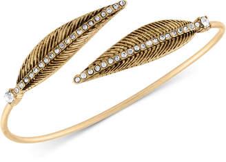 Rachel Roy Gold-Tone Pave Feather Bangle Bracelet