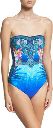 Gottex Oahu Bandeau One-Piece Swimsuit, Blue/Multicolor $188 thestylecure.com