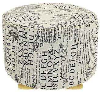 DL furniture - Round Ottoman Foot Stool, 4 Leg Stands, Short Leg, Round Shape | Linen Fabric, Letters Pattern Cover