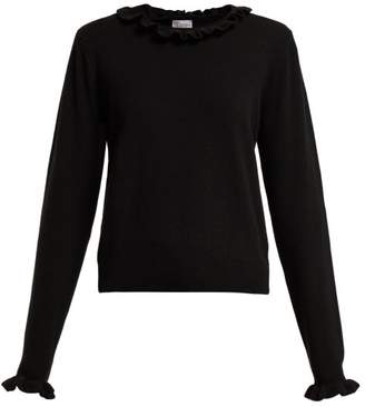 RED Valentino Ruffle Collar Long Sleeved Sweater - Womens - Black