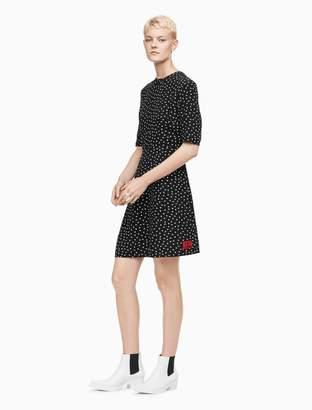 Calvin Klein printed monogram logo mock neck dress