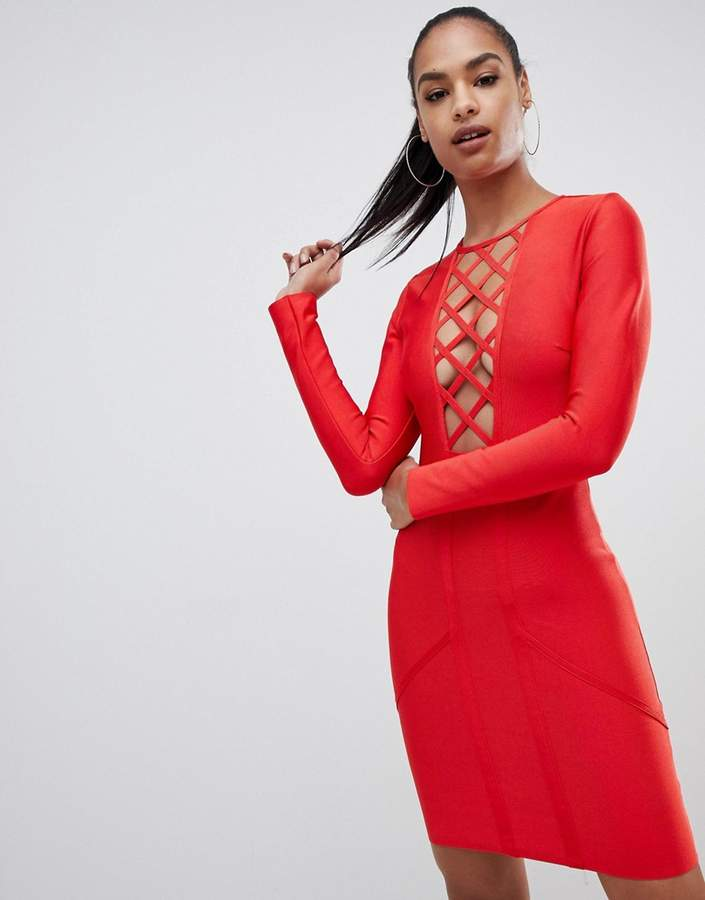 lattice detail bandage bodycon mini dress in red