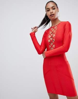 PrettyLittleThing lattice detail bandage bodycon mini dress in red