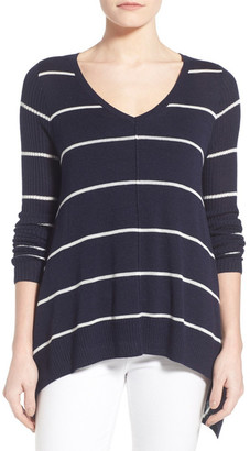 Willow & Clay Ribbed Sleeve Stripe V-Neck Sweater $88 thestylecure.com