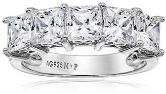 Swarovski La Lumiere Platinum-Plated Sterling Silver Zirconia Princess-Cut 5 Stone Ring (3 cttw), Size L1/2