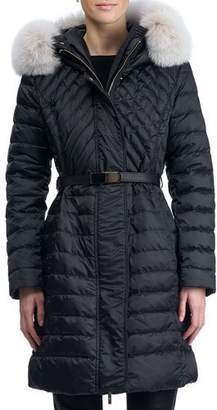 Gorski Apres-Ski Hooded Quilted Puffer Ski Jacket with Fox Fur Trim