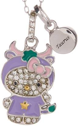 Hello Kitty Zodiac Sterling Silver Pave Crystal Enamel Taurus Pendant Necklace