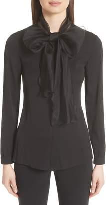 Emporio Armani Organza Bow Stretch Silk Blouse