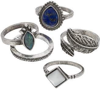 Mudd Silver Tone Simulated Crystal Vintage Style Ring Set