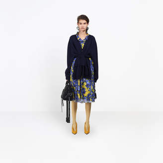 Balenciaga Cardigan in trompe l'il with belt and two front pockets