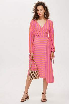 Topshop Stripe Wrap Midi Dress