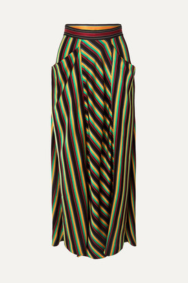3.1 Phillip Lim Striped Satin Maxi Skirt - Black