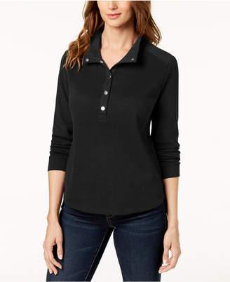 Karen Scott Convertible Snap-Collar Top, Created for Macy's
