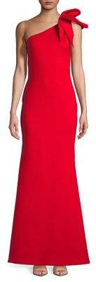 Betsy & Adam Bow One-Shoulder Mermaid Gown
