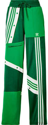 adidas Daniëlle Cathari Snap-embellished Patchwork Jersey Track Pants - Green