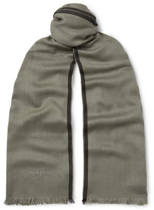 Tom Ford Logo-Embroidered Cashmere, Silk and Wool-Blend Twill Scarf - Men - Green