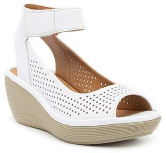 Clarks Reedly Salene Leather Wedge Sandal