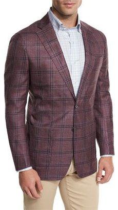 Peter Millar Hanatoro Windowpane Sport Jacket, Burgundy $898 thestylecure.com