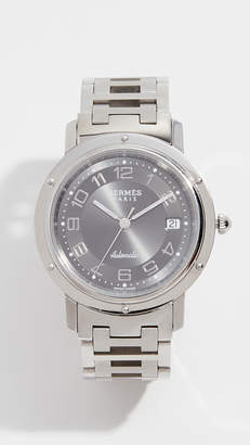 Hermes What Goes Around Comes Around Grey Clipper GM Watch, 38mm