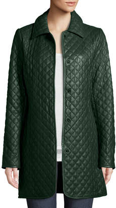 Neiman Marcus Leather Collection Quilted Button-Front Leather Trenchcoat