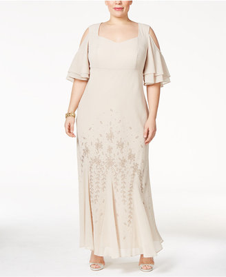 R & M Richards Plus Size Embellished Off-The-Shoulder Gown $129 thestylecure.com