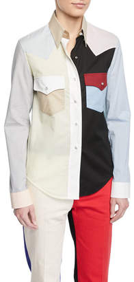 Calvin Klein Colorblock Button-Down Long-Sleeve Cotton Western Shirt