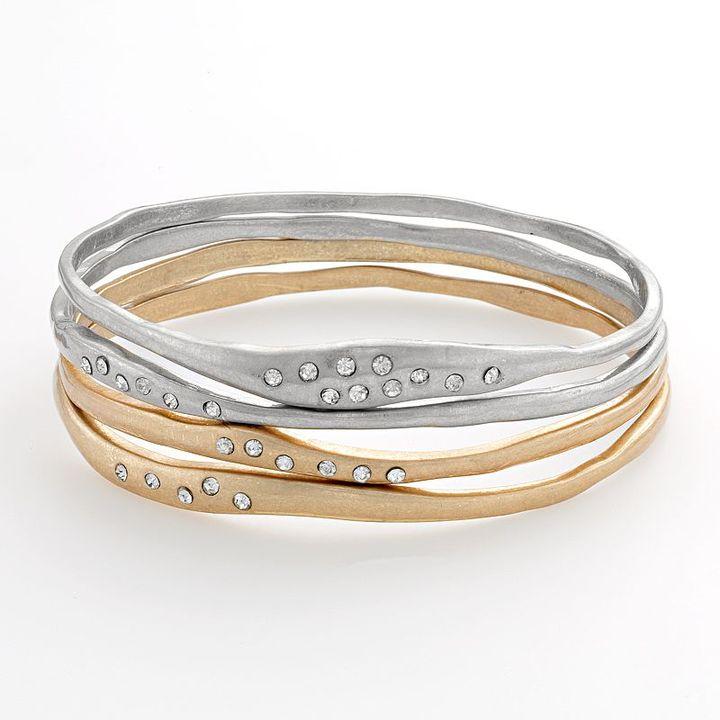 Elle™ bijoux two tone simulated crystal hammered bangle bracelet set