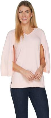 Halston H By H by Marled V-Neck Pullover Sweater Cape