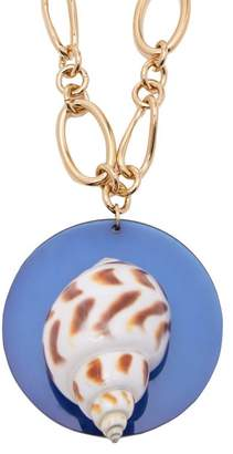 Rebecca De Ravenel - Sirena Shell And Gold Plated Pendant Necklace - Womens - Blue