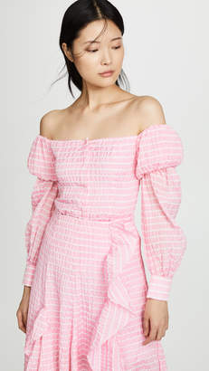 ANAÏS JOURDEN Striped Lolita Off Shoulder Top