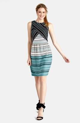 Donna Morgan Print Scuba Layered Bodice Fit & Flare Dress
