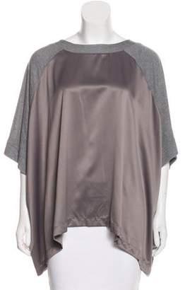 Natori Satin-Paneled Dolman Sleeve Top