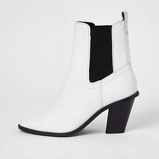 River Island White leather western heeled ankle boots