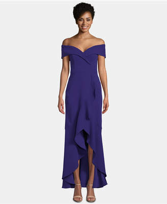 Xscape Evenings Off-The-Shoulder Ruffle-Bottom Gown