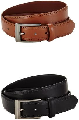 Mens 2 Pack Perforated Detail Belt