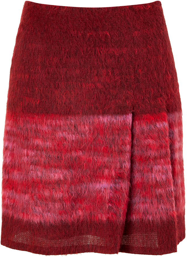 Anna Sui Red and Rose Wool-Blend Skirt