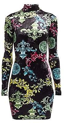 Versace Women's Mockneck Scroll-Print Velvet Bodycon Dress