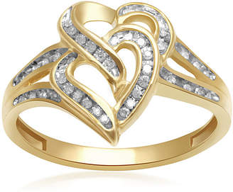 JCPenney FINE JEWELRY 1/8 CT. T. W. Diamond 10K Yellow Gold Double-Heart Ring