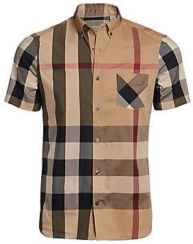 Burberry Men's Thornaby Check Short Sleeve Shirt