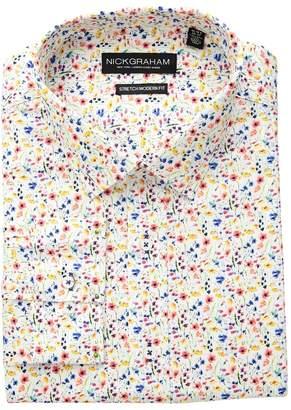Nick Graham Multi Floral Print Stretch Shirt Men's Long Sleeve Button Up