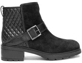 Hogan Paneled Suede And Quilted Leather Ankle Boots