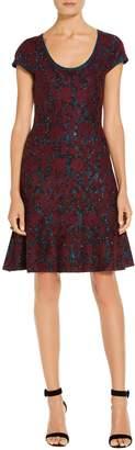 St. John Sparkle Velvet Jacquard Knit Dress